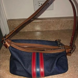 Pre-owned Coach Leather & Denim Baguette